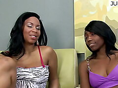 Pretty black lesbians spoil their tight pussies with toys