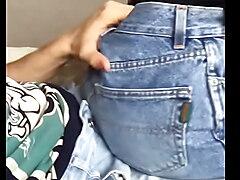 Rub his ass on his cock through his pants